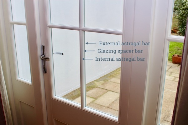 Wooden astragal bars with matching warm edge spacer duplex
