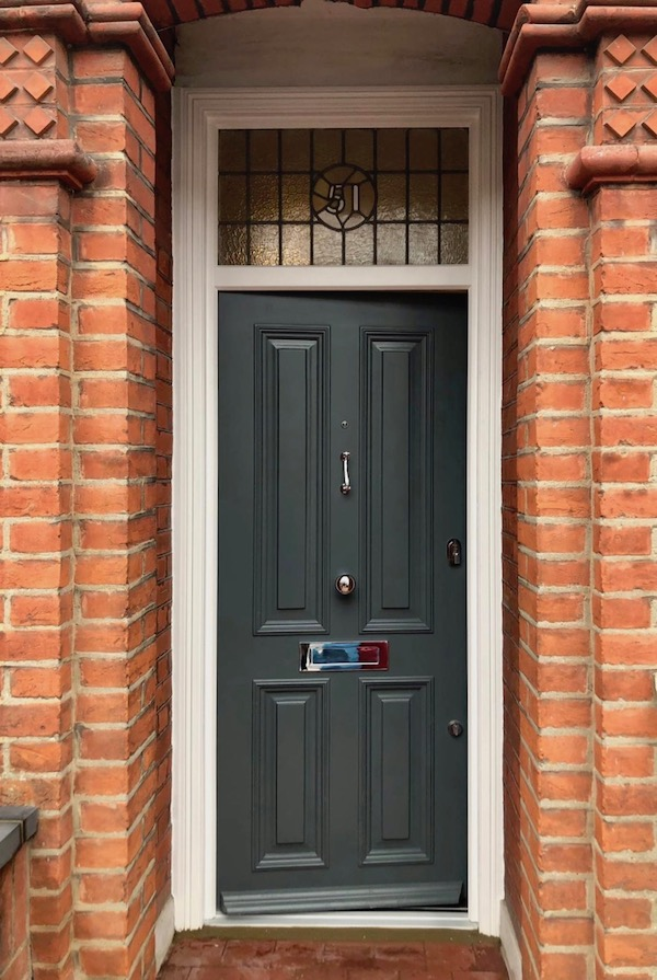 Bespoke timber entrance door in Clapham South London with Farrow and Ball Downpipe paint