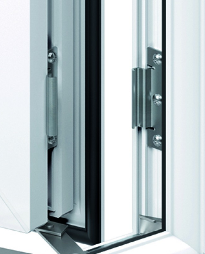 detail of a casement window hinge protector, which ensures safety