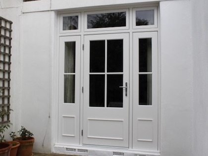 Large bespoke entrance door outside view