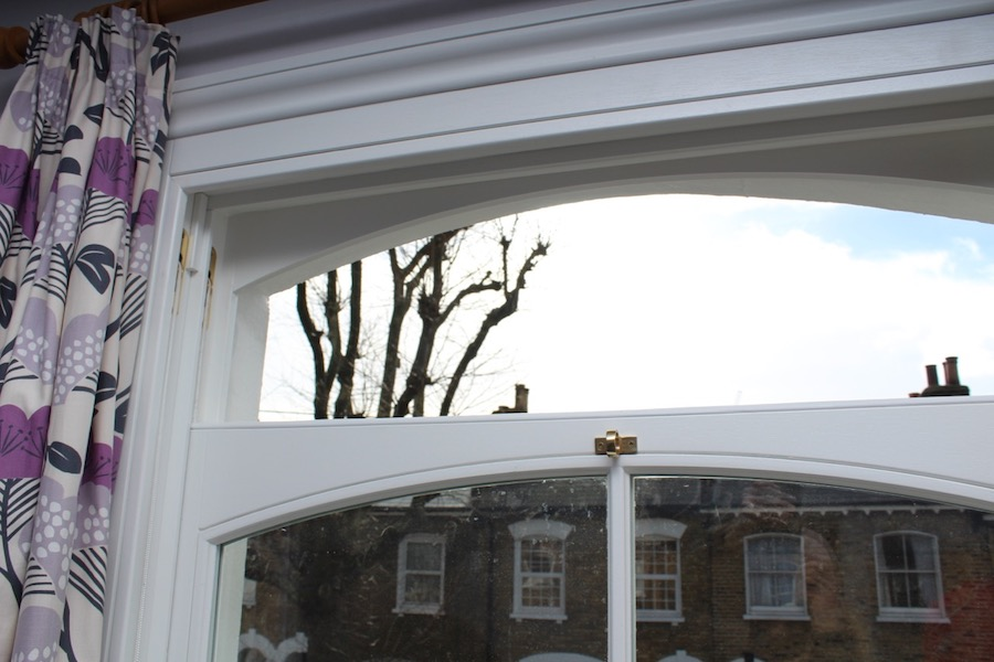 A radius or curved head sash window