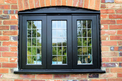 Spay painted wooden casement windows