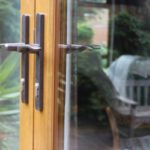 detail of the handles on French doors