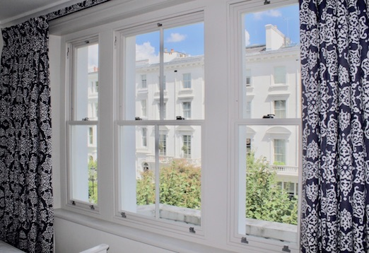 Spay painted sash window