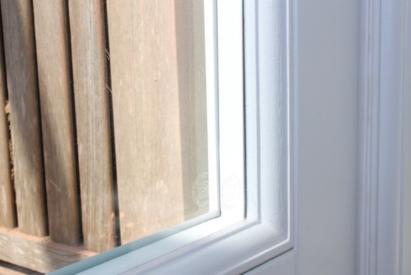 "White warm edge spacers in a hardwood timber <a href=""/windows-and-doors/wooden-french-doors/"">French door</a>"