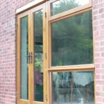 wooden French doors outside view