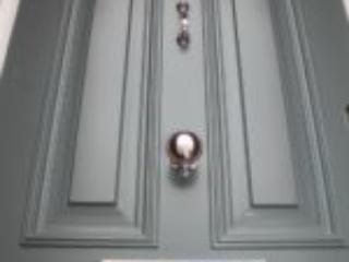 grey wooden entrance door