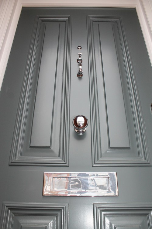grey wooden entrance door