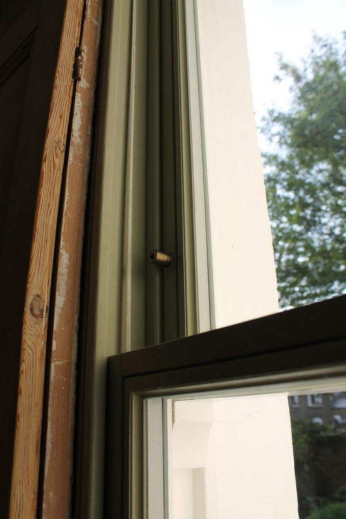 details of a wooden sash window