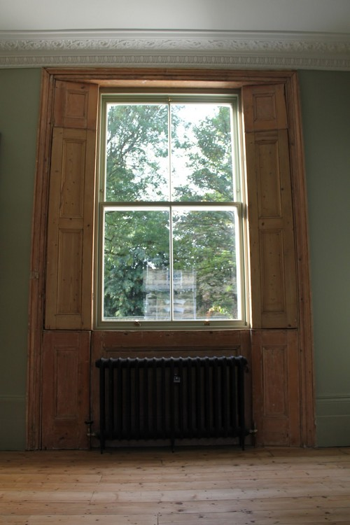 wooden sash window in a traditional house inside view