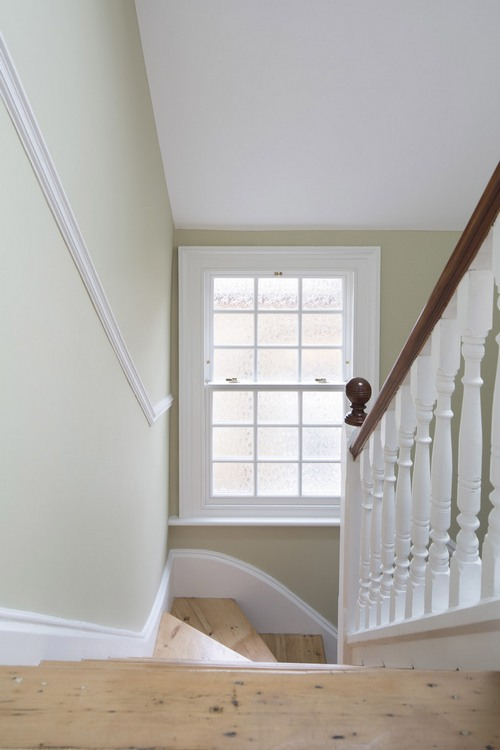 wooden sash window seen from a staircase